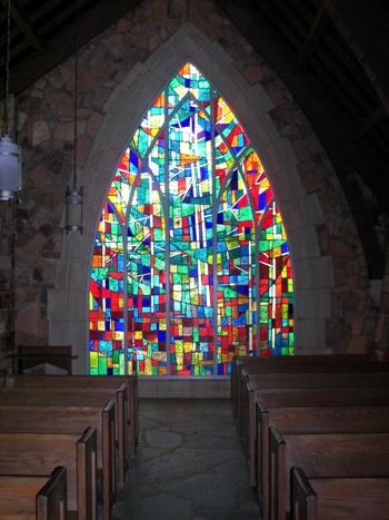 Ida Cason Callaway Memorial Chapel, back glass window