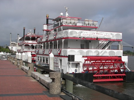 Riverboats Lined up on the Savannah River
