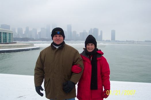 Tim and Stacy at Lake Michigan